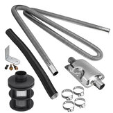 Stainless Exhaust Muffler Silencer Clamps Bracket Gas Vent Hose Portable 180cm Pipe Silence For Air Diesel Heater