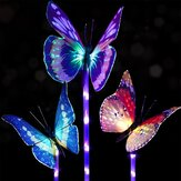 3 pcs Solar multi-warna Fiber Optic Kupu-kupu LED Stake Light untuk Outdoor Garden Decor