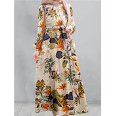 Women Cotton Floral Print Puff Sleeve Pleated Side Pockets Loose Robe Vintage Maxi Dress