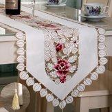 Mesa de flor tampa corredor toalha mesa pastoral com o casamento borla decoração festival