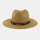 ユニセックス日焼け止めトラベルビーチサンハットエレガントシーサイドジャズハット麦わら帽子