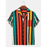 Colorful Vertical Stripes Holiday Style Mens Short Sleeve Shirts With Pocket