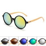 Unisex Vintage Retro Yuvarlak UV400 Güneş gözlükleri El yapımı Bambu Ayaklı Gözlükler Gözlük Gözlükler