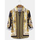 Camisas de estilo étnico con botones de manga larga con estampado barroco para hombre