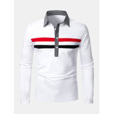Mens Two-Color Stripes Lapel Casual Long Sleeve Golf Shirts