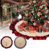 Новогодняя льняная юбка с решеткой 2020, круглый ковер, рождественские украшения для дома, коврик, новогодние юбки с елкой