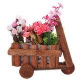 Petit chariot pot de fleur en bois brouette planteur succulent conteneur ornement
