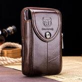 Bullcaptain Couro Genuíno Telefone Bolsa Cintura Bolsa Negócios Bolsa Para Homens