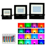 LED Floodlight 10W/30W/50W RGB 16 Colors Led Spotlight with Remote Control Outdoor Waterproof Reflector Garden Light