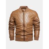 Jaquetas de couro PU com zíper completo forrado a veludo de cor sólida masculina