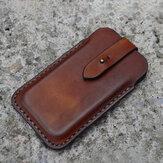 Męska prawdziwa skóra Retro solidna 6,3-calowa torba na telefon saszetka na pas