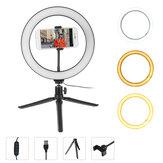 3 modos de luz regulável de 10 polegadas LED luz de preenchimento de anel LED suporte de tripé de mesa de luz em anel Suporte ao vivo para selfie com plugue USB para YouTube Tiktok VK Vlog Maquiagem