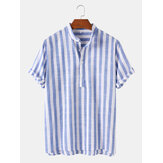 Mens vertical stripe col montant casual respirant manches courtes Henley chemises