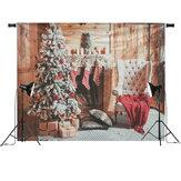 7x5ft Kerst Openhaard Kerstboom Stoel Geschenk Kousen Fotografieachtergrond Studio Prop Achtergrond