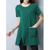 Casual Short Sleeve Split Pocket Pure Color T-shirts For Women