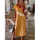 Sunflower Print Round Neck Short Sleeved Split Hem Maxi Dress