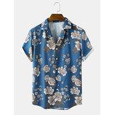 Ανδρικά Casual Flower Print Revere Collar Κοντομάνικο πουκάμισο