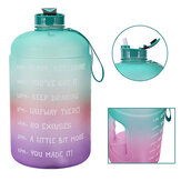 1 Gallon/3.78L PETG Time Marker Water Bottles Large High Capacity Training Water Jug with Leakproof Cap Wide-Mouth Jug Cup 2 Lids for Sports Gym Camping Travel