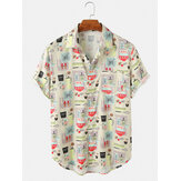 Herren Cartoon Container Print Umdrehen Kragen Kurzarm Shirts