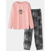 Vrouwen Cartoon Beer Print Drop Schouder Trui Brief Elastische Taille Broek Thuis Pyjama Set