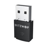 BlitzWolf®BW-NET5 Mini 300M USB Adaptador Wi-Fi 2.4G Placa de rede sem fio Suporte de dongle wi-fi externo Soft-AP