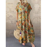 Vintage Daisy Print Short Sleeve Cotton Pockets Casual Maxi Dress