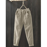 Original              Women Corduroy Solid Color Elastic Waist Casual Harem Pants With Pocket