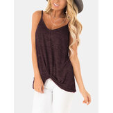 Casual V-neck Sleeveless Straps Camisole Tank Tops