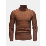 Mens Twisted Knitted High Neck Multi-Color Casual Basic Sweater