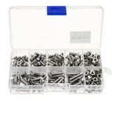 Suleve™ M4SP2 M4 Stainless Steel Phillips Flat Head Screws Bolts Nuts Assortment Kit 250Pcs