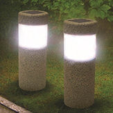 Solar Power Stone Pillar White LED Lights Garden Lawn Courtyard Decoration Lamp