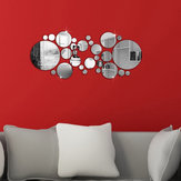 28Pcs 3D Sticker Modern Art Acrylic Silver Round Mirror Removable Wall Sticker DIY Home Decor
