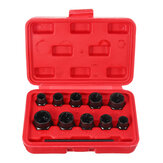 Drillpro 11Pcs Impact Damaged Bolt Nut Remover Extractor Socket Tool Set Bolt Nut Screw Removal Socket Wrench
