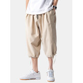 Mens Plain Solid Color Casual Calf-Length Drawstring Pants
