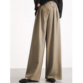 Women Casual Work Cross Button Design Wide Leg Pants