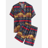 Couple Tribe Ethnic Pattern Print V-Neck Pyjamas Set Khan Steamed Sauna Hotel Badkleding