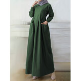 Women Solid Color Ankle Length Side Pocket Kaftan Robe Maxi Dresses