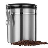 1.5L Zilveren Roestvrij staal Verzegelde Koffieboon Thee Opslagbus Keuken Opslagcontainer