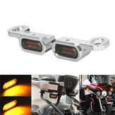 2pcs 12V motocicleta mini LED lâmpada sinalizadora luz âmbar marca E para Harley
