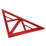 Régua triangular de precisão de polegada de liga de alumínio de 90/45 graus para carpintaria Régua triangular de precisão