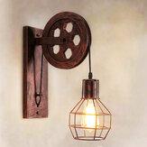 Retro ajustável ferro lâmpada de parede polia de elevação E27 arandela luz interior 4 cores sem lâmpada