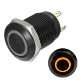12v 4 broches 12mm Led Light Metal Push Button Momentary Switch imperméable à l'eau noir