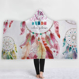 Bohemia Style Dekens Dream Catcher Aquarel Schilderen Deken Warm Coral Fleece Sherpa Stof Veer Tekening Throw Blankets