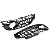 1 Pair Honeycomb Front Grill Bumper Fog Light Cover Grille For Audi A4 B8 B8.5 ALLROAD 2009-2015