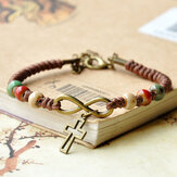 Vintage Ethnic Ceramic Beads Bracelet Adjustable Creative Cross Type Hand-Woven Pendant Bracelet