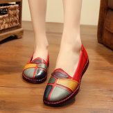 Retro Stitching Splicing Slip On Flats Leather Shoes