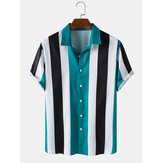 Mens Wide Striped Turn Down Collar Camisas de manga curta