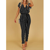 Casual Women Striped Short Sleeve V-Neck Jumpsuit