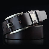 108CM Business Alloy Buckle Leather Belt Plain Waistband