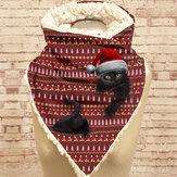 Женский милый мультяшный 3D черный Кот Fstive в полоску с рождественской атмосферой Шаблон теплый Шея защитный шарф